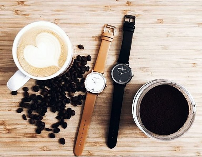 coffee, latte, latte art, coffee beans, flatlay, watches