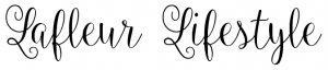 lafleur lifestyle logo, cursive writing