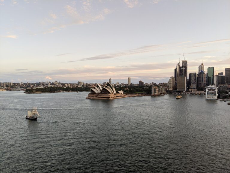 sydney harbour, sydney opera house, water, sail boat, sunset, skyline